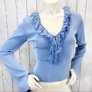 Cache Silk Ruffle Bell Sleeve Blue Sweater Sz M